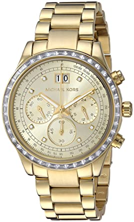 5273c39a88c0 Image Unavailable. Image not available for. Color  Michal Kors Brinkley Gold-Tone  Dial SS Chronograph Quartz Ladies Watch MK6187