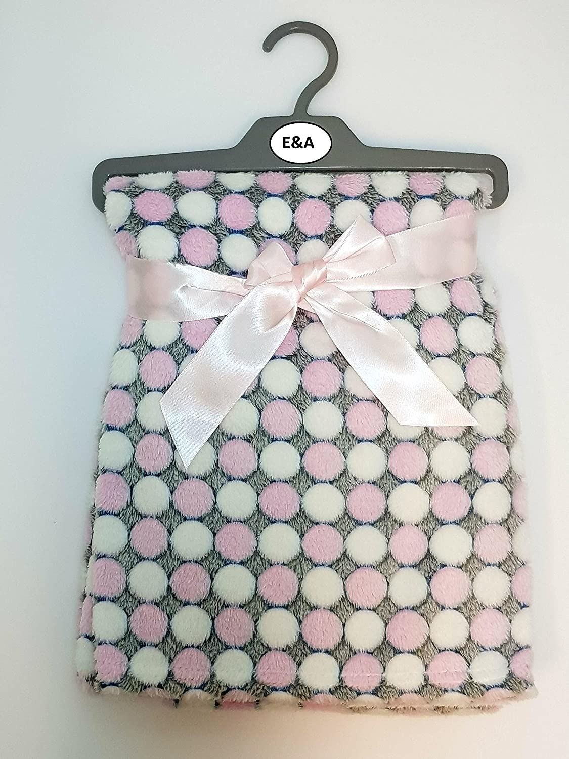 Luxury Soft Fleece Baby Blanket with Cute Dots Design 75 x 100cm for Babies from Newborn (Blue) E&A Distribution Limited