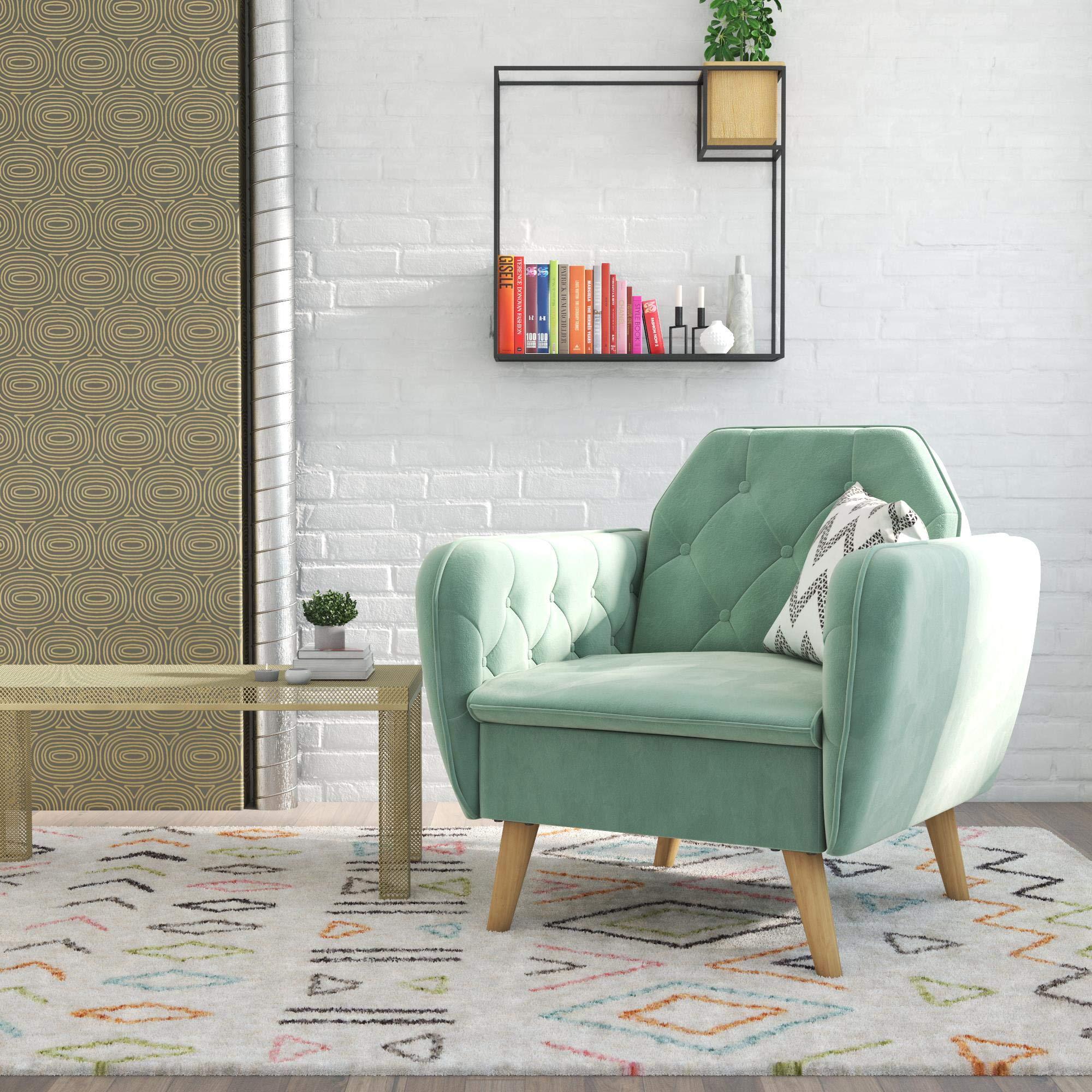 Novogratz 2273879N Tallulah Memory Foam Arm, Light Green Velvet Accent Chair, by Novogratz