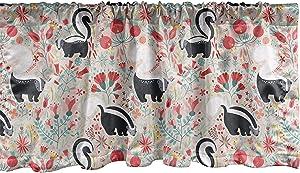 Lunarable Forest Window Valance, Skunks in Botanical Garden Flourishing Blooms Flowers Spring Foliage Cartoon, Curtain Valance for Kitchen Bedroom Decor with Rod Pocket, 54