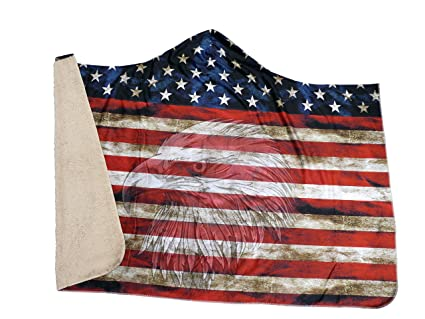 bd2572a947c Amazon.com  Cozy Threads American Flag with Eagle Hooded Blanket ...