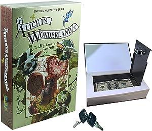 E-ONSALE Real Paper Book Locking Booksafe with Key Lock Dictionary Secret Hidden Safe (Alice in Wonderland)