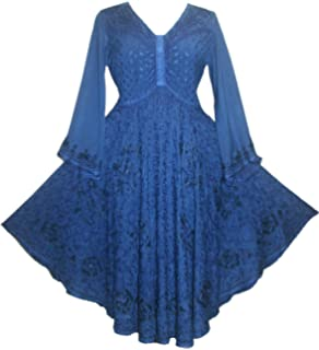 a844a7177f Agan Traders Women s Medieval Butterfly Embroidered Sequin Flair Bell  Sleeve Top Blouse OR Dress