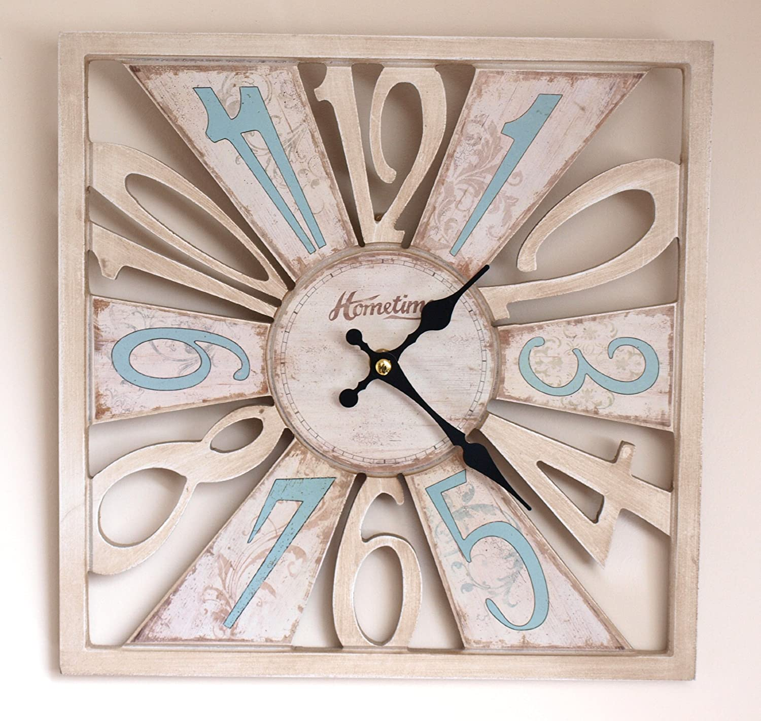 Wall Clock Chic N Shabby Distressed Style Square Wooden Cut Out