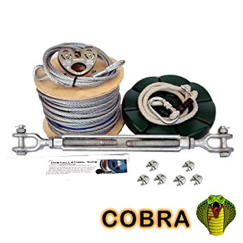 Cobra 50m Garden Zip Wire Package Complete 8mm Kit With Seat