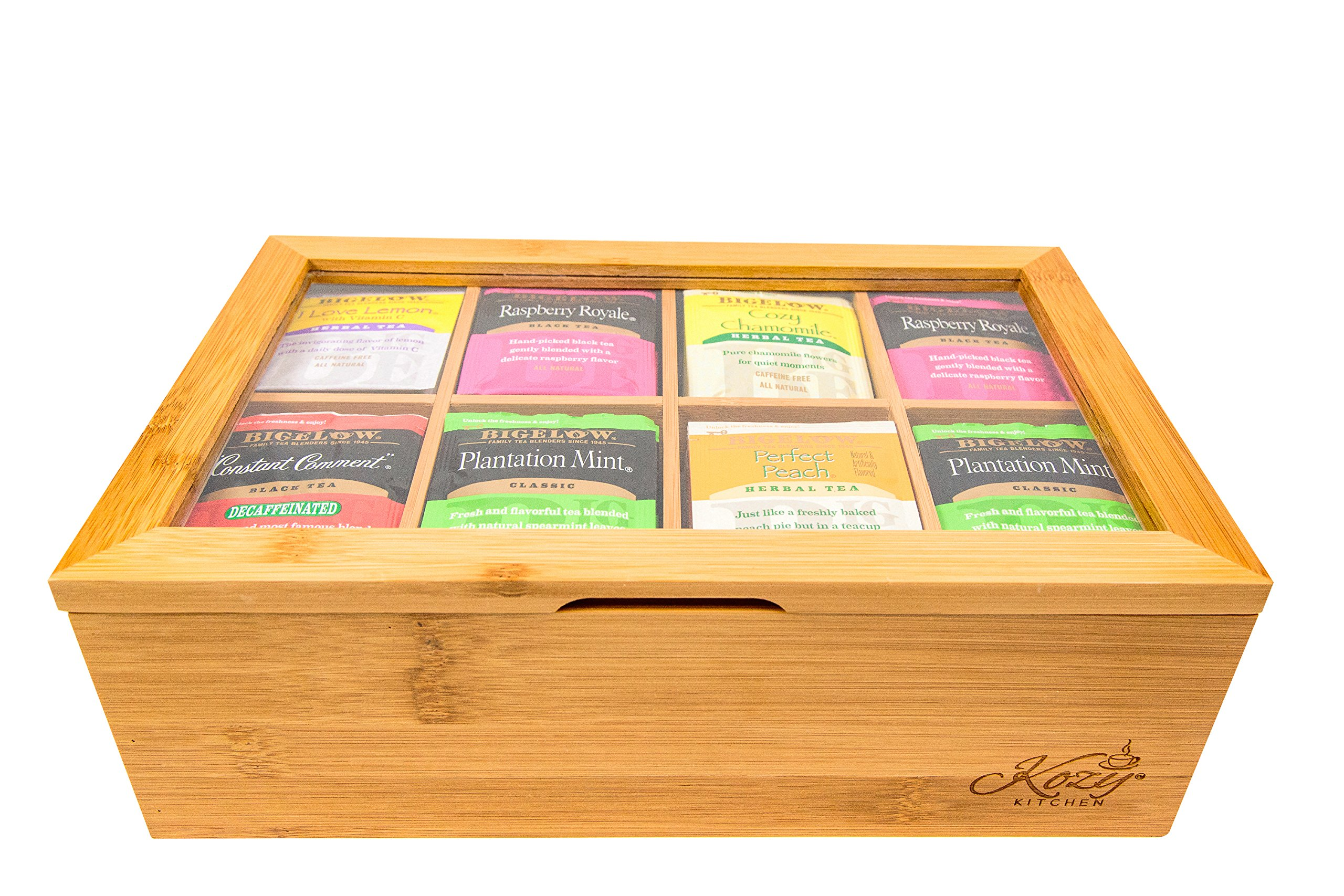 Bamboo Tea Box Storage Organizer, 100% Natural Wooden Finish Tea Bag Organizer 8 Storage Compartments and Clear Shatterproof Hinged Lid by Kozy Kitchen (Image #2)