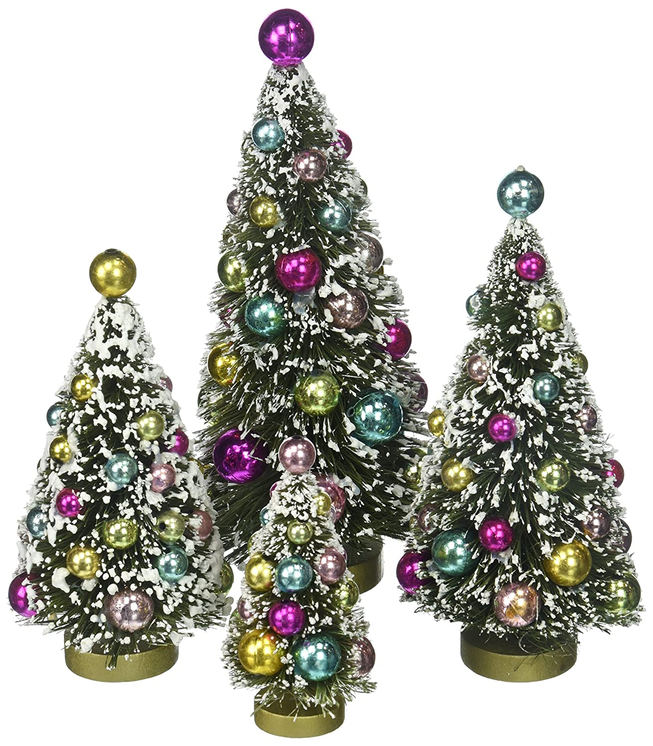 Creative Co-Op XC2825 Set of 4 Multicolor Bottle Brush Trees with Ornaments