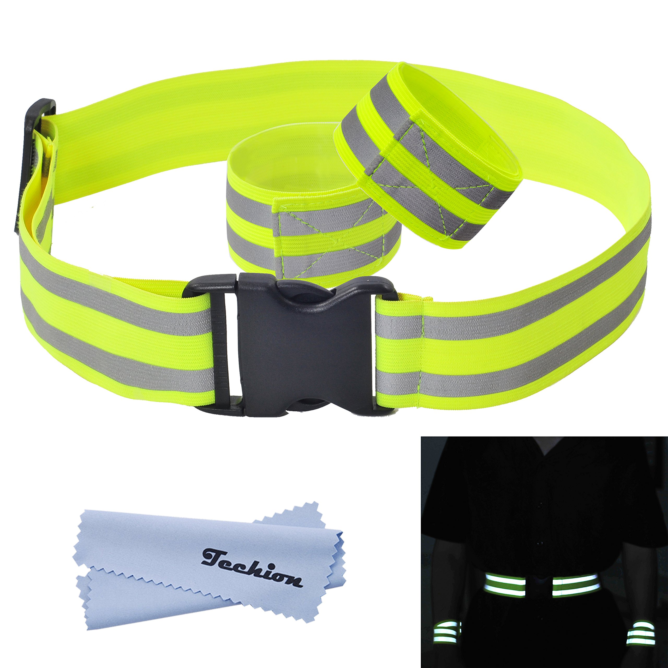 Techion Reflective Elastic Fabric Waist Belt Band with Buckle Clip and Two Reflective Strips for Cycling/Biking/Walking…
