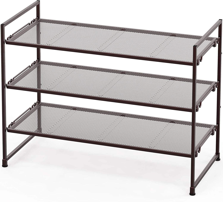Simple Houseware 3-Tier Stackable Shoe Shelves Storage Utility Rack, Bronze