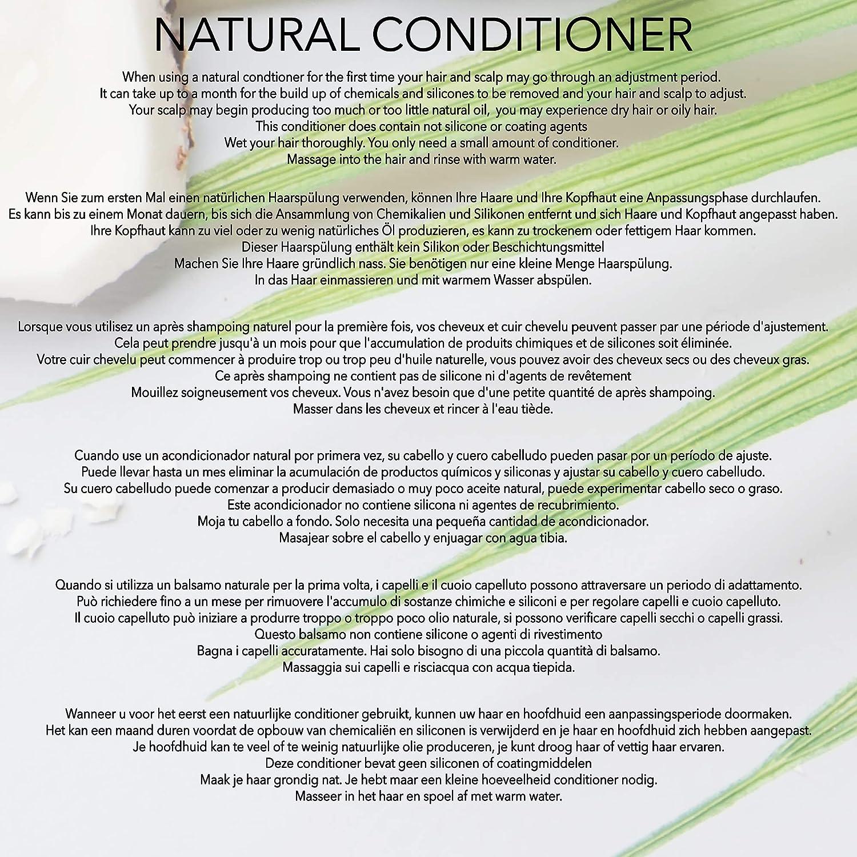 Natural - ACONDICIONADOR para CABELLO RIZADO - ACEITE DE ARGAN, COCO & NARANJA - 250 ml - por POO FREE - Sin Sulfatos, Sin Parabenos, Sin Silicona. ...