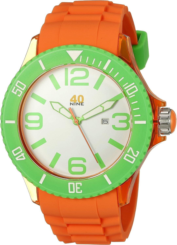 40Nine Men s 40NINE01 ORG1 Extra Large 50mm Analog Display Japanese Quartz Orange Watch