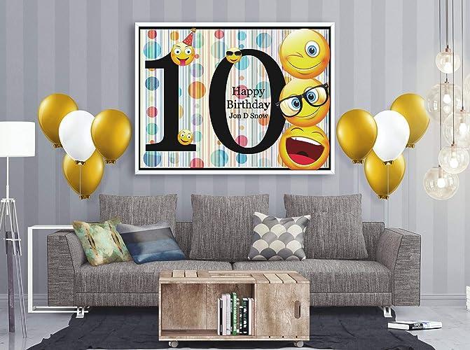 amazon com emoji party supplies happy birthday banner 10th