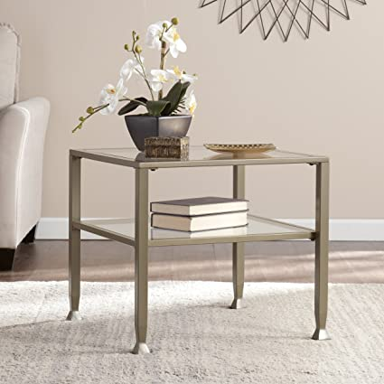 Southern Enterprises Glass Bunching Cocktail Table, Matte Khaki Finish