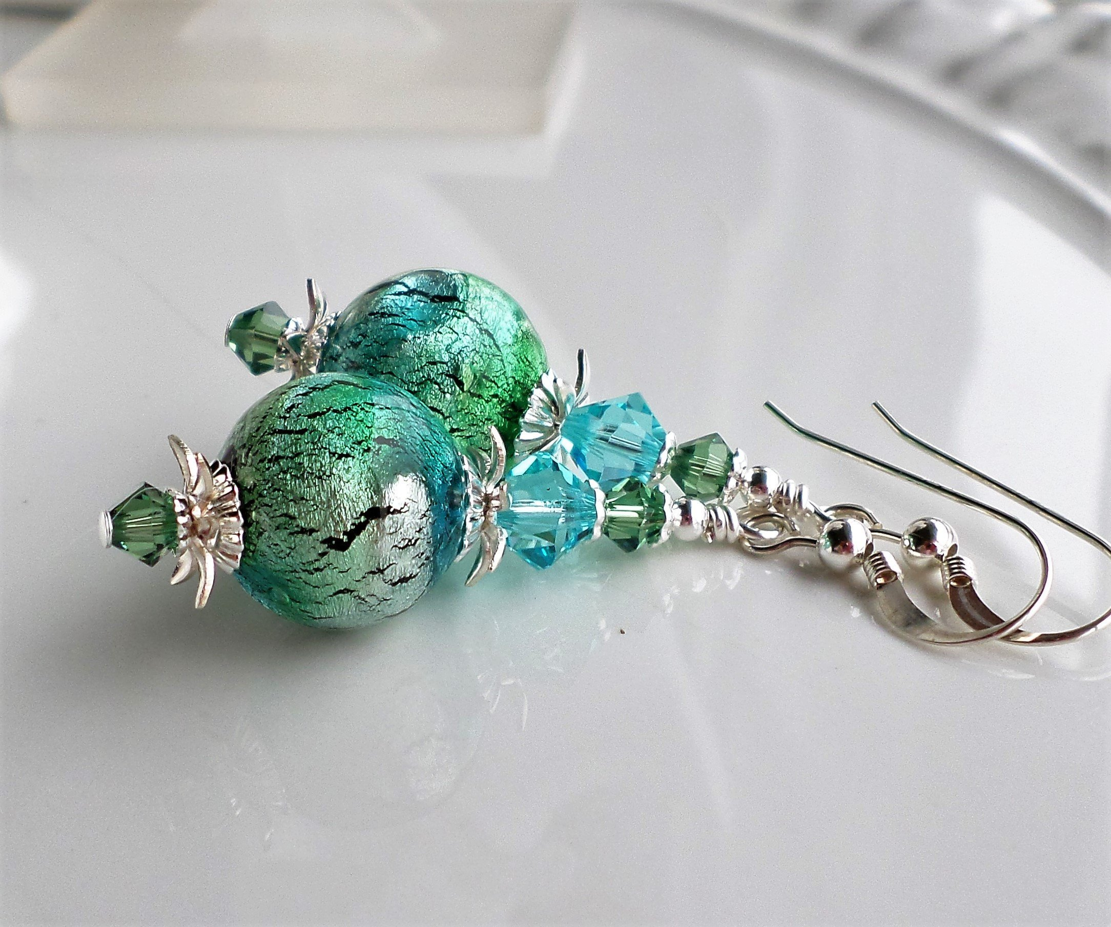 Blue Green Murano Glass Dangle Earrings