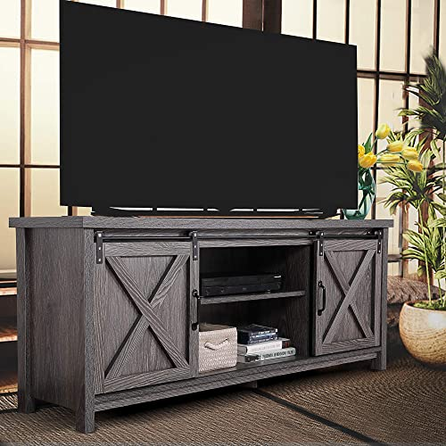 JAXPETY Wooden Farmhouse Style 58 Inch TV Stand w/Storage Shelves