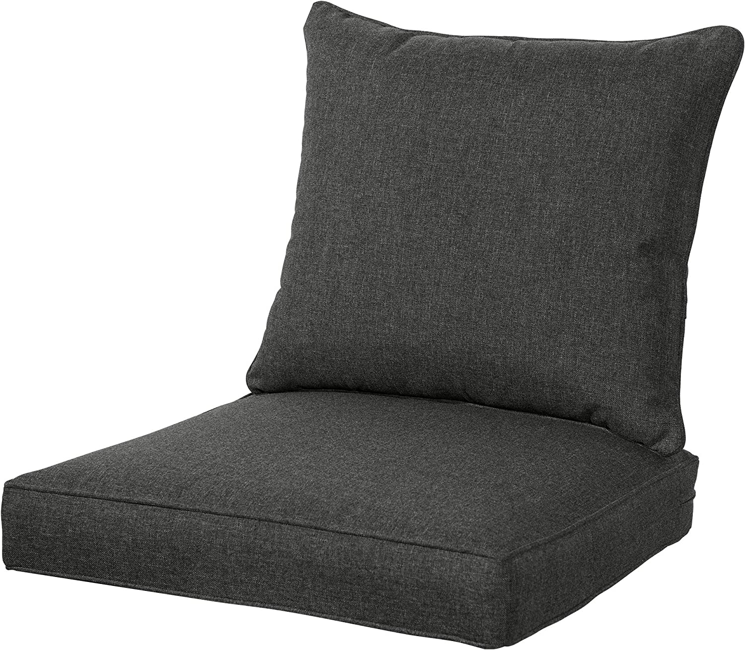 QILLOWAY Outdoor/Indoor Deep Seat Chair Cushions Set,Replacement Cushion for Patio Furniture. (Charcoal Grey/Black)