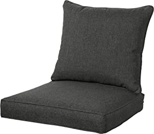 QILLOWAY Outdoor/Indoor Deep Seat Chair Cushions Set,All Weather Large Size Replacement Cushion for Patio Furniture. (Charcoal Grey/Black)