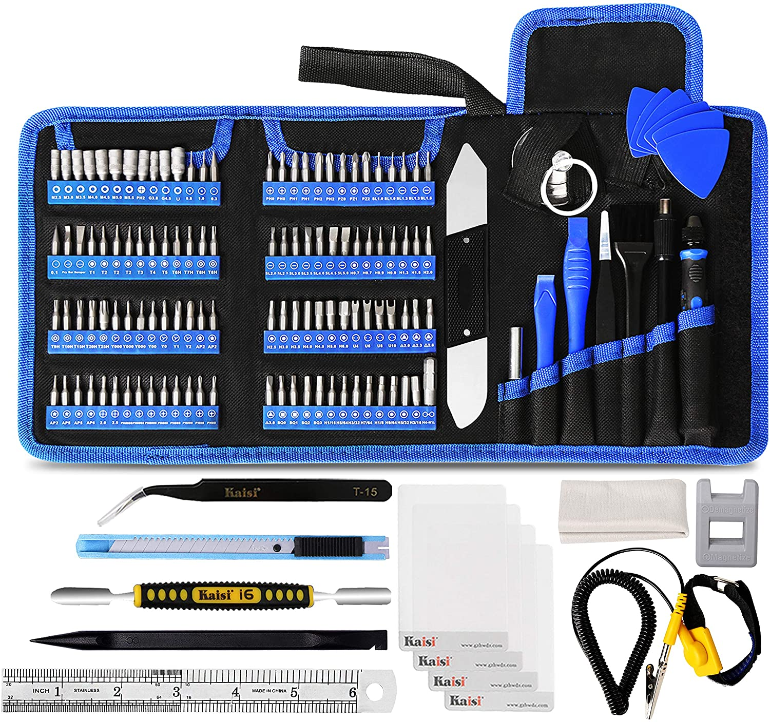 Kaisi 139 in 1 Electronics Repair Tool Kit Professional Precision Screwdriver Set Magnetic Drive Kit with Portable Bag for Repair Cellphone, iPhone, Macbook, Computer, Tablet, iPad, Xbox, Game Console