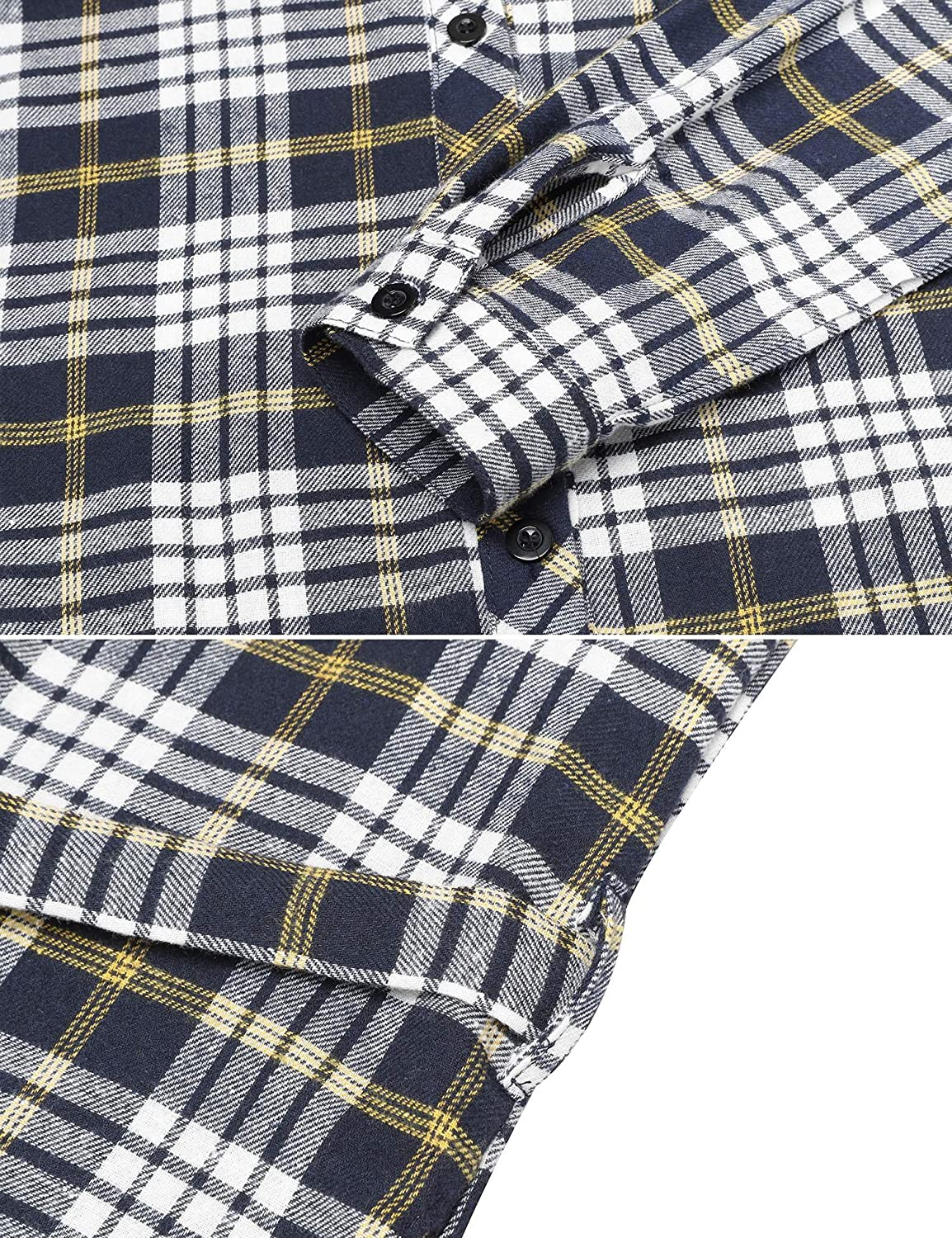 ANGVNS Womens Shirt Dress Long Sleeves Side Slit Button Down Plaid Checker Tunic Dress W//Belt for Casual