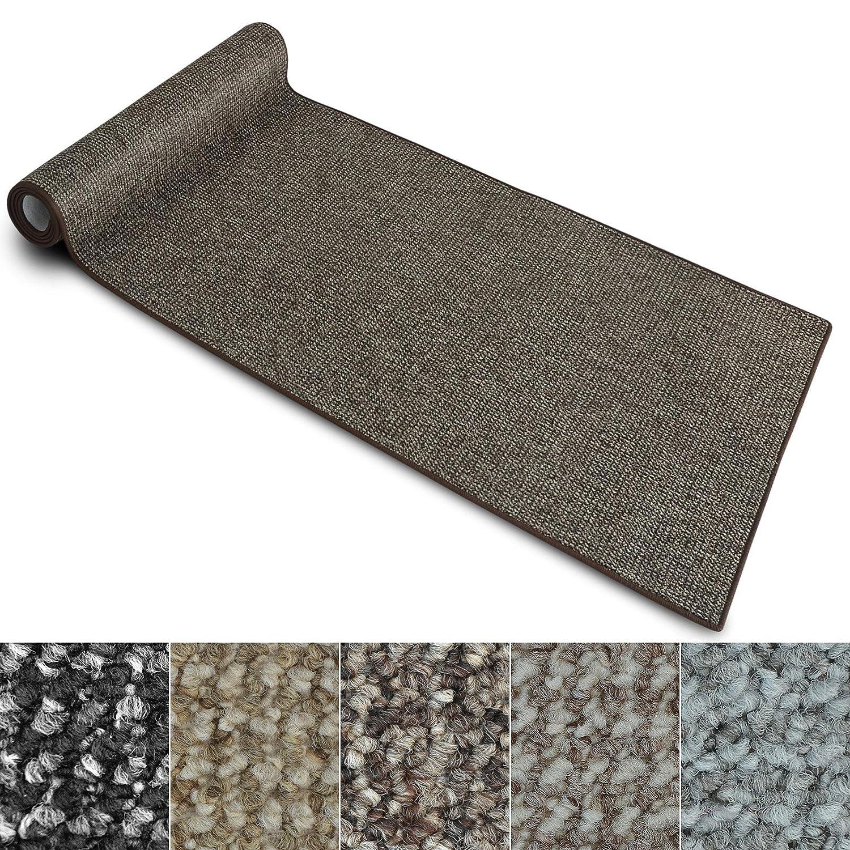 Teppich Läufer Carlton   Flachgewebe dezent gemustert   Teppichläufer in vielen Größen   als Küchenläufer, Flurläufer   mit Stufenmatten kombinierbar (Braun - 80x700 cm)