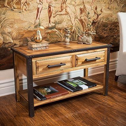 Amazoncom Contemporary Luna Acacia Wood Metal Natural Stain Sofa