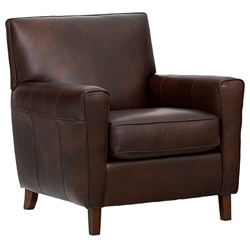 Rivet Lawson Mid-Century Modern Angled Leather Arm Chair, 33 W, Driftwood