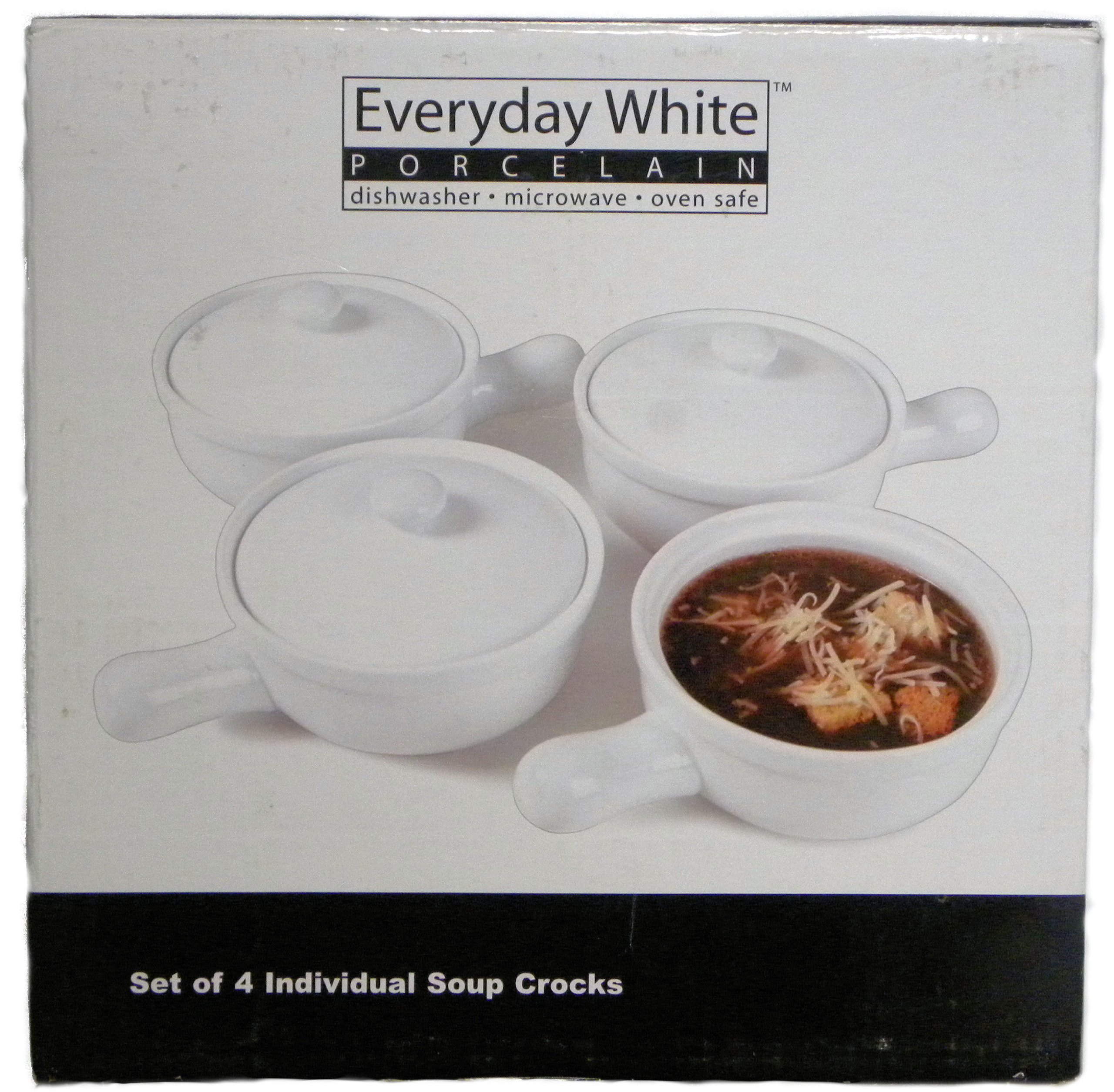 Everyday White Porcelain - 4 Soup Crocks with Lids