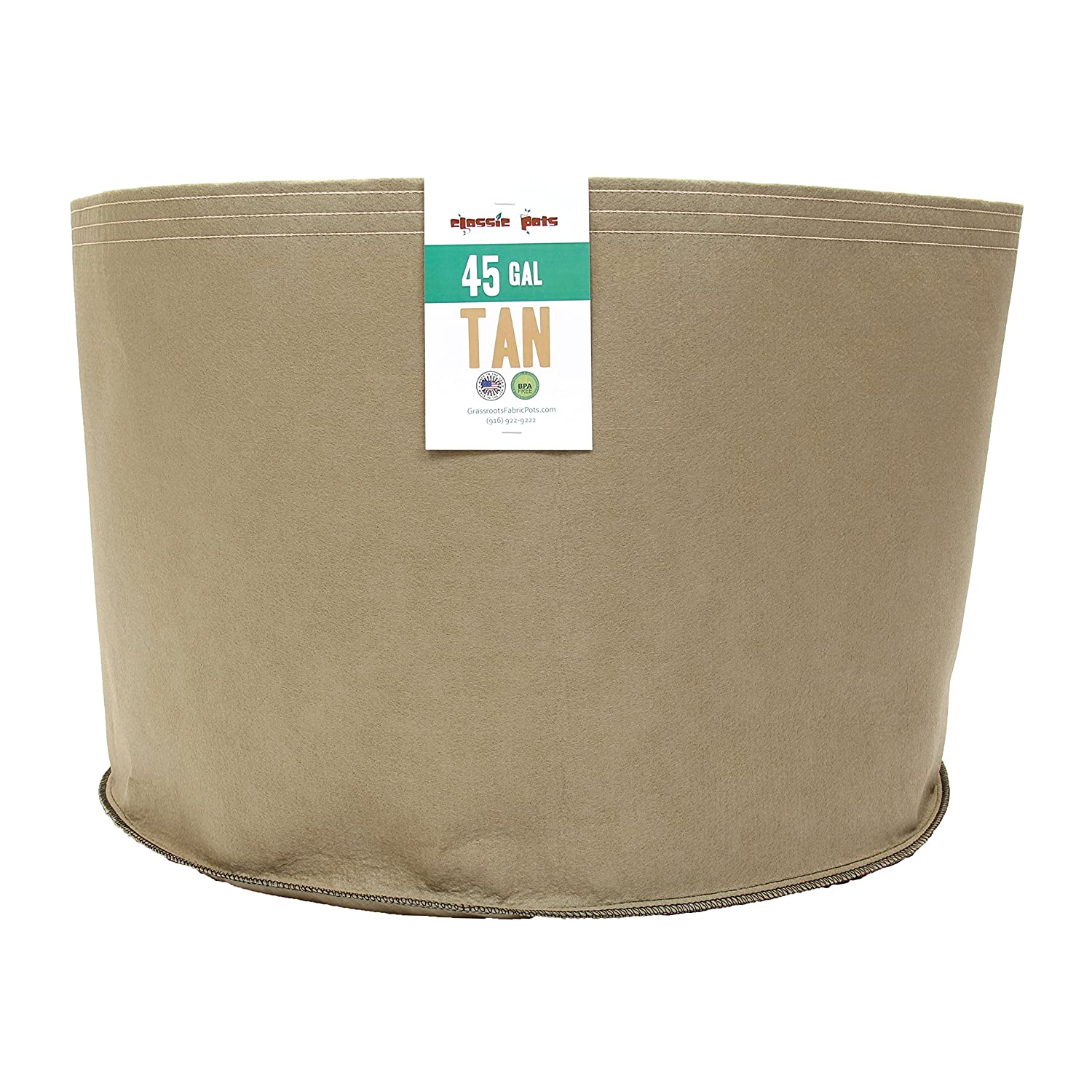 (20 Pack) 45 Gallon Tan Grassroots Fabric Pot - Grow Pot and Aeration Container