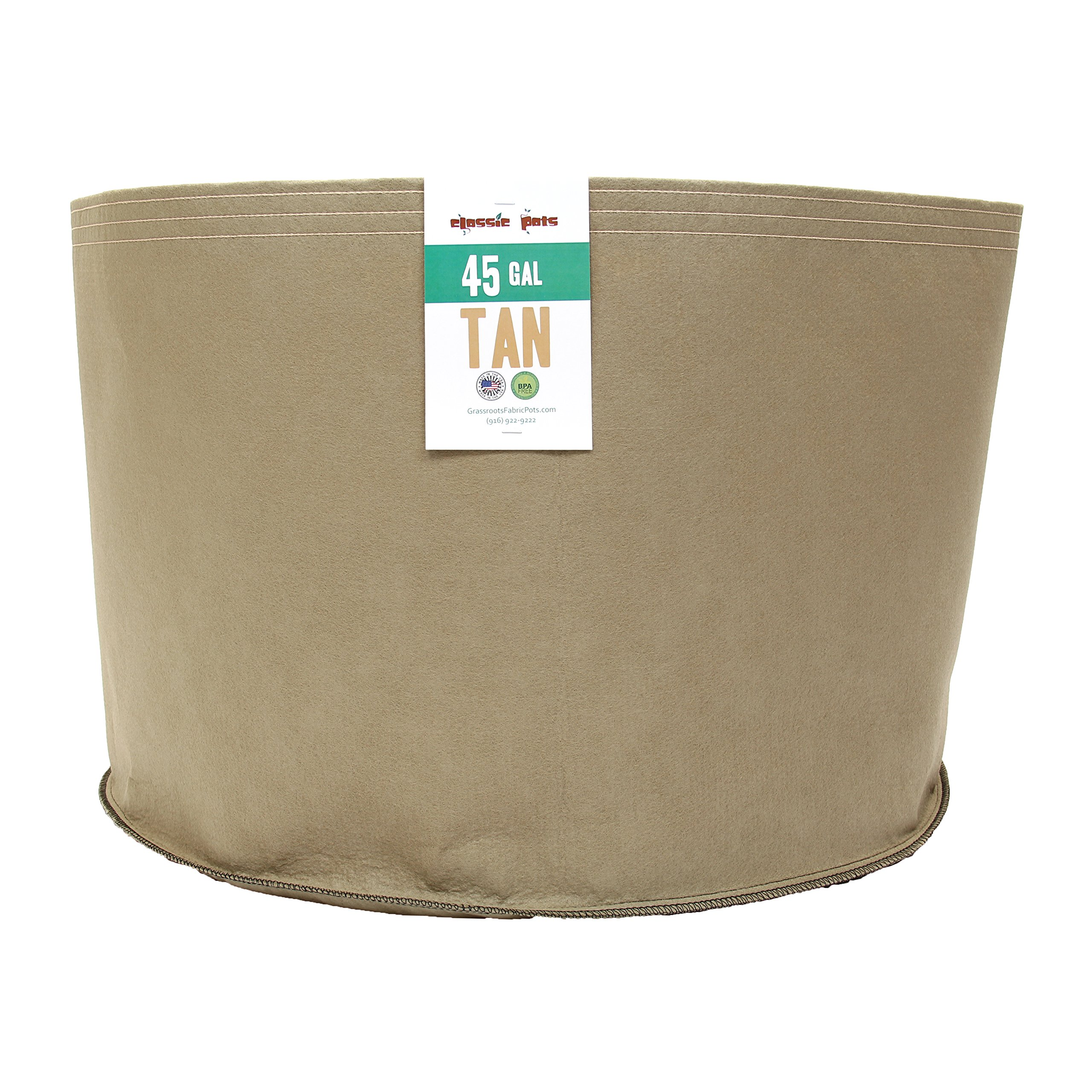 (20 Pack) 45 Gallon Tan Grassroots Fabric Pot - Grow Pot and Aeration Container by Grassroots Fabric Pots