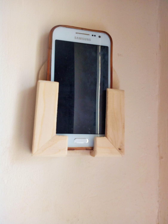 Porta Telefono Cellulare / Smartphone da Muro in Legno Grezzo Naturale