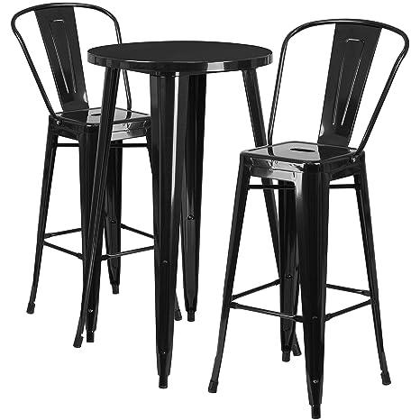 Fine Flash Furniture 24 Round Black Metal Indoor Outdoor Bar Table Set With 2 Cafe Stools Forskolin Free Trial Chair Design Images Forskolin Free Trialorg
