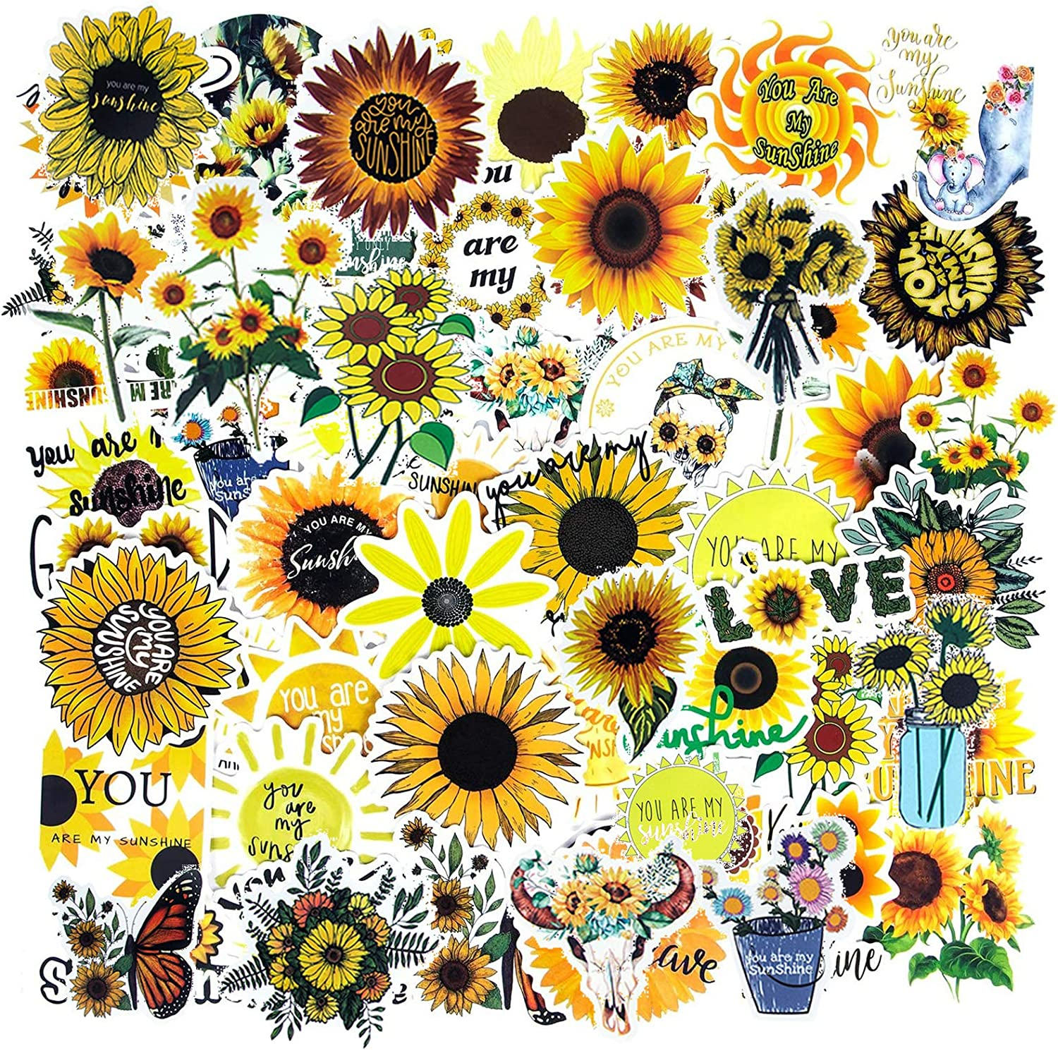 Sunflower Stickers, Waterproof Vinyl Stickers for Hydroflasks Laptop Stickers Water Bottle Stickers for Teens Computer Stickers Guitar Phone Car Skateboard Stickers for Girls (50PCS Sunflower Decals)