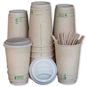Disposable Compostable Coffee Cups with Lids