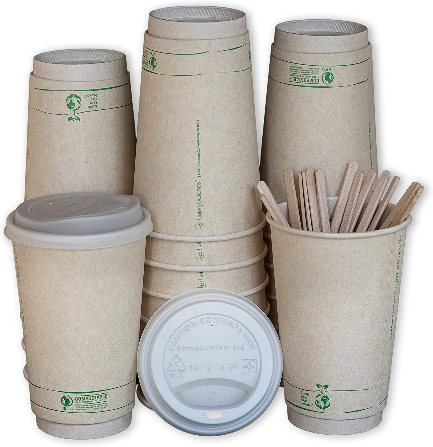 Disposable Compostable Coffee Cups with Lids, Stirrers, and Sleeves. [75 Pack - 16 Ounce]