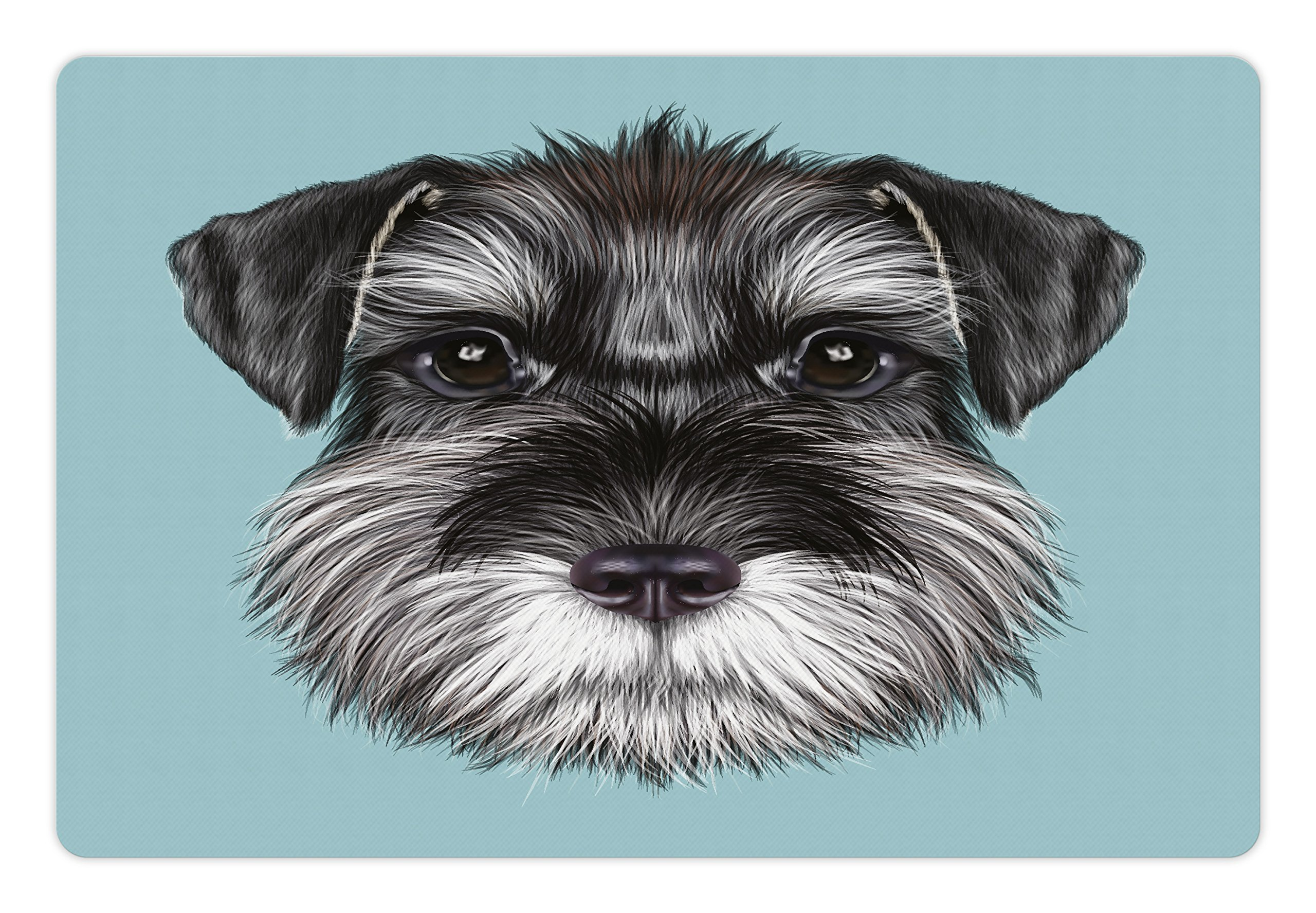 Lunarable Animal Pet Mat for Food and Water, Illustration of a Cute Baby Schnauzer on Blue Background Puppy Portrait, Rectangle Non-Slip Rubber Mat for Dogs and Cats, Light Blue Black White