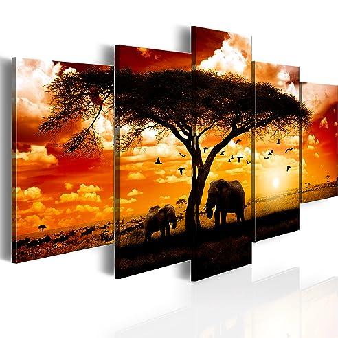 Amazon.de: BILD AUF LEINWAND + 5 TEILIG + AFRIKA SONNENUNTERGANG ...