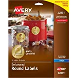 Avery Embossed Round Labels, Matte Gold Foil, 2-Inch Diameter, 96 Labels (22831)
