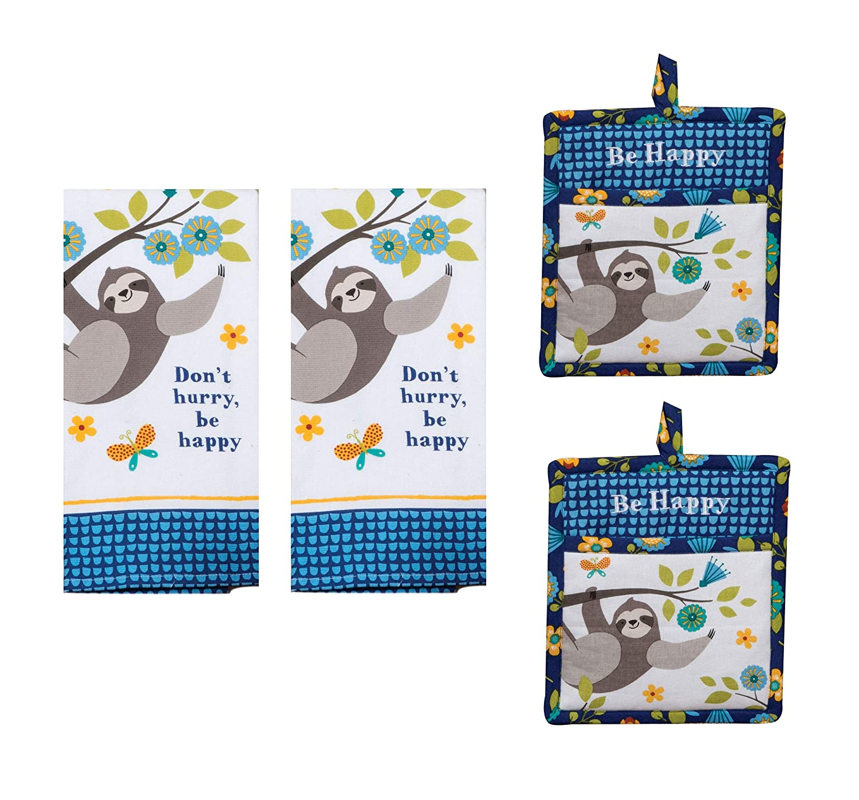 4 Piece Kay Dee Be Happy Sloth Kitchen Decor Bundle, Towels and Potholders