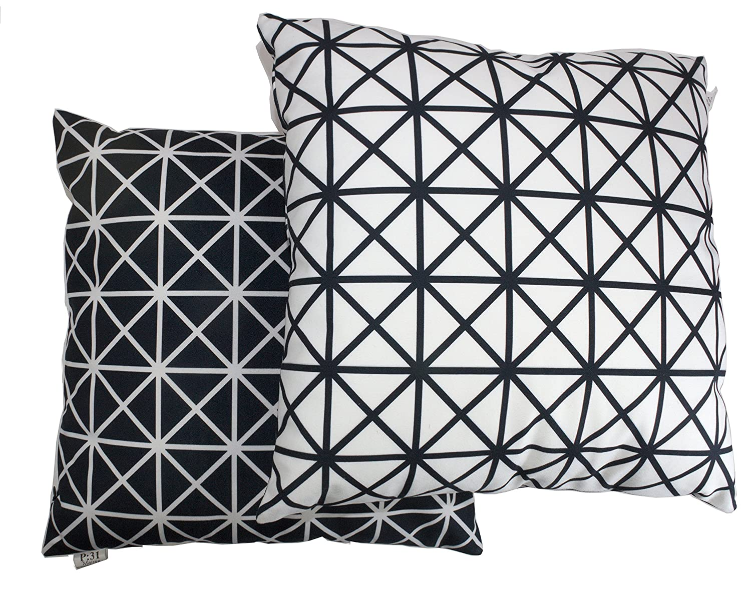 Pure Black and White Cushion Cover, Throw Pillow Cover, For 18 Inch Square Pillows. Geometric Design. Pattern On Both Sides. Soft Material. Set Of 2. P31 Maison