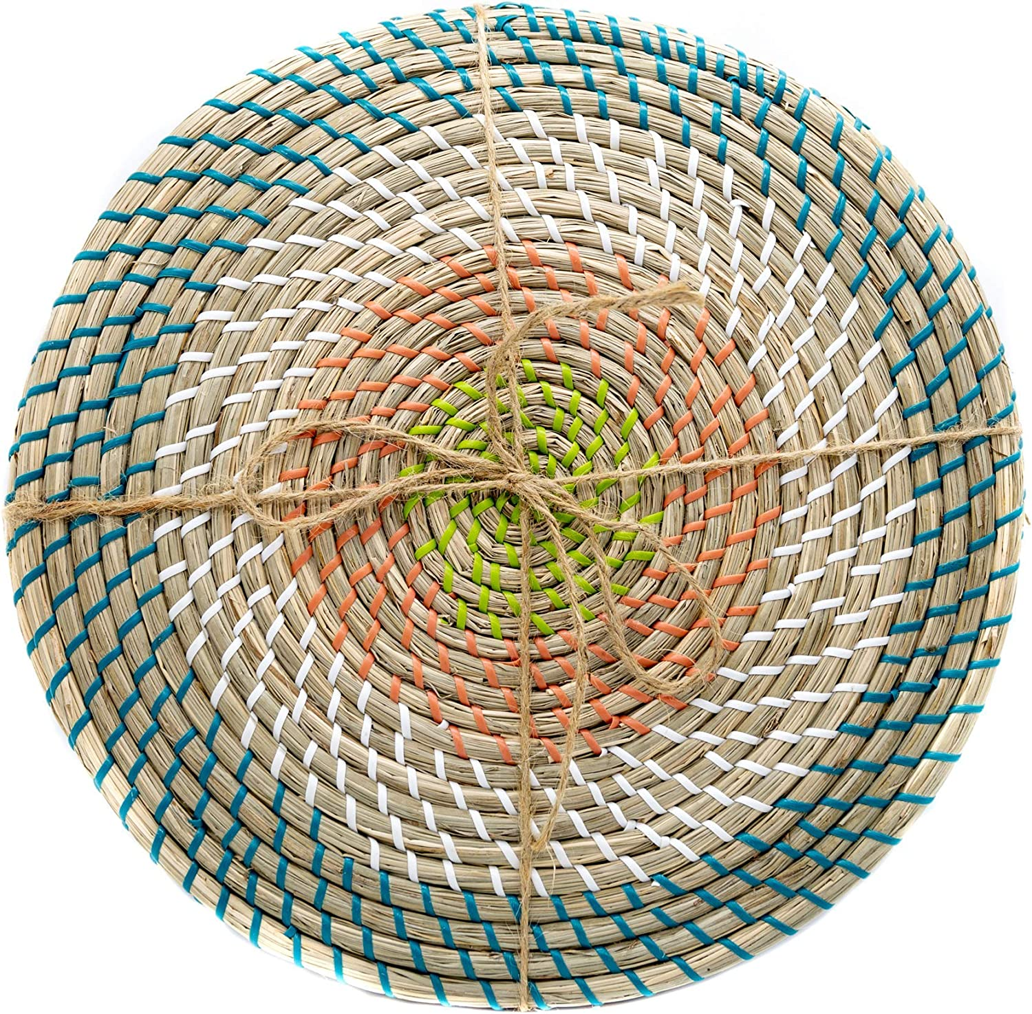 Woven Wicker Rattan Wall Decor, Round Seagrass Boho Kitchen Decor, Minimalist Rattan Chargers & Placemats for Dining Table & Wall Art, Rattan Wall Decorative Basket