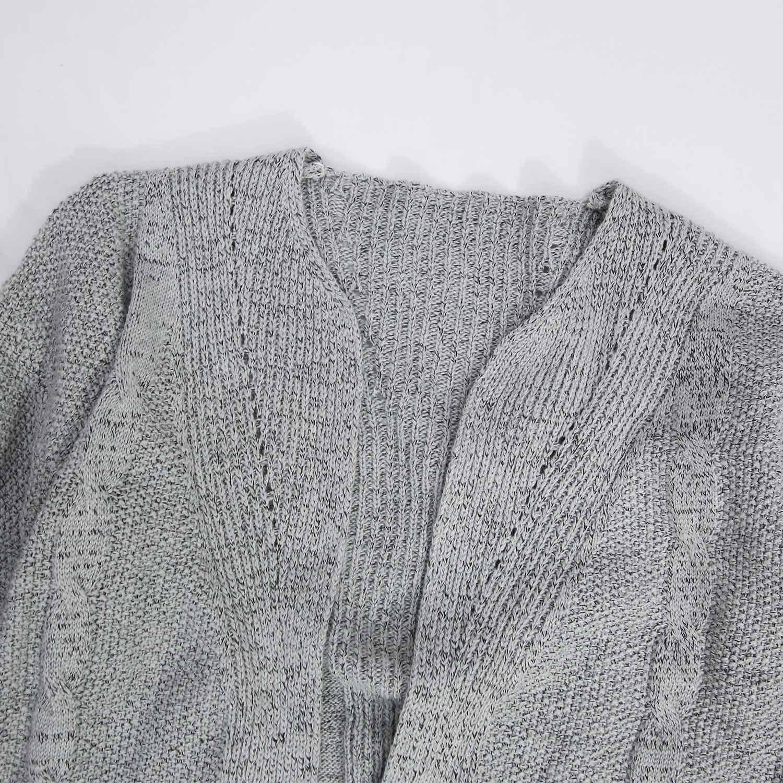 Futurino Women's Cable Twist School Wear Boyfriend Pocket Open Front Cardigan (One Size, Grey) by Futurino (Image #4)