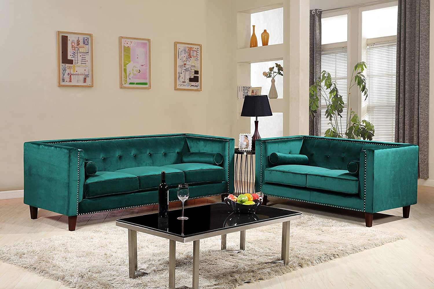 Container Furniture Direct S5371-2PC Kitts Velvet Upholstered Modern Chesterfield Sofa Set, 78