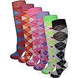 6 Pairs Women's Fancy Design Multi Colorful Patterned Knee High Socks