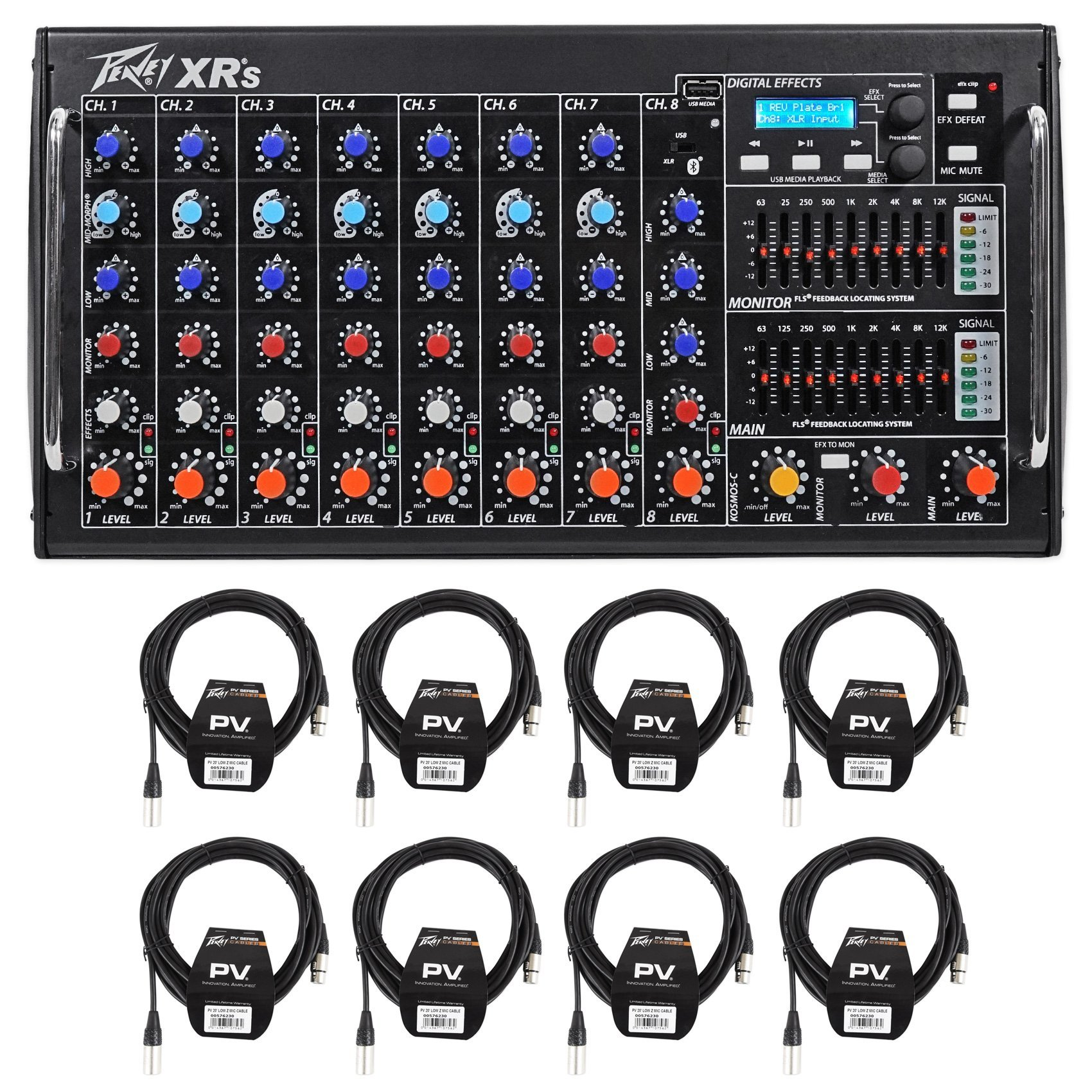 Package: Peavey XR S 1000 Watt Rack Mountable Powered/Active 8 Channel Mixer w/ Bluetooth/USB+AutoTune XRAT and 3-Band EQ Per Channel + (8) Peavey PV 20' XLR Female to Male Low Z Mic Cables