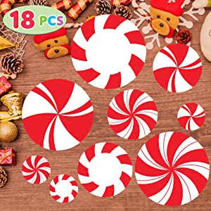 JOYIN 18 Pieces Peppermint Floor Decals Stickers for Christmas Candy Land Party Decorations, Store Decor Floor Clings