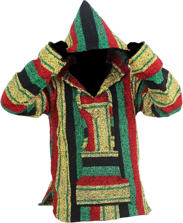 Baja Hoodie Mexican Blue Drug Rug Sweatshirt Hippie Boho Hooded Ethnic Vintage Blanket Stripe Bohemian Kangaroo Small Medium