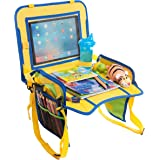 Kids Travel Tray Activity Center with iPad Sleeve - by Gracefully Yaya - Snack, Play and Learn. Pockets for Everything!