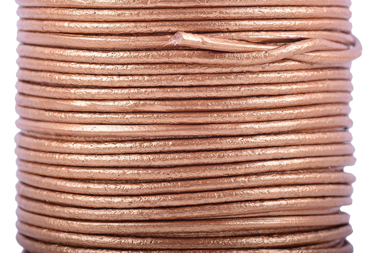 KONMAY 25 Yards Solid Round 2.0mm Distressed Brown Genuine/Real Leather Cord Braiding String (2.0mm, Distressed Brown) KONAMY KMRL020DB