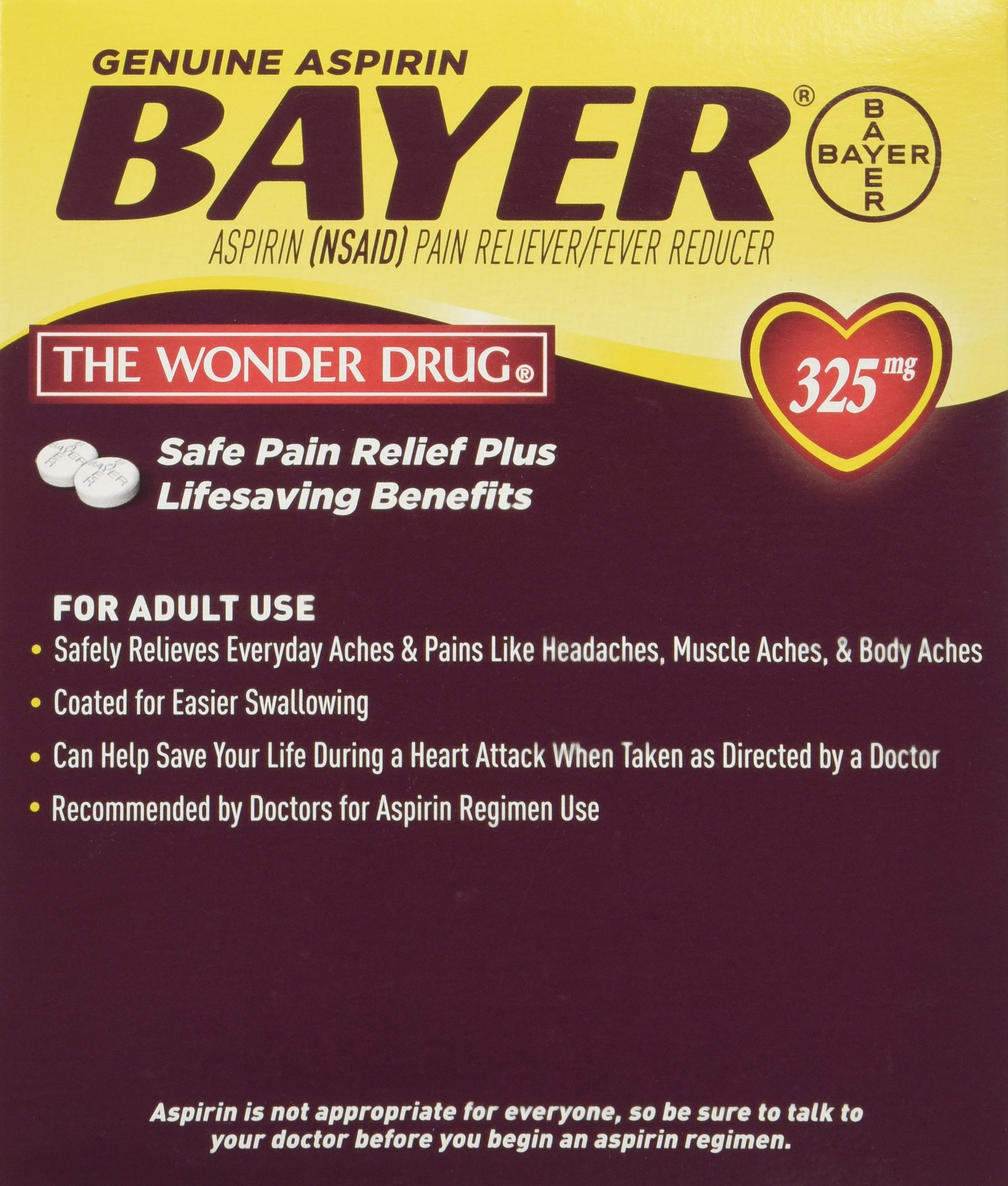 Bayer Aspirin Individual Sealed 2 Tablets in a Packet (Pack of 50 Packets) 100 Tablets Total-325mg by FIRST AID ONLY