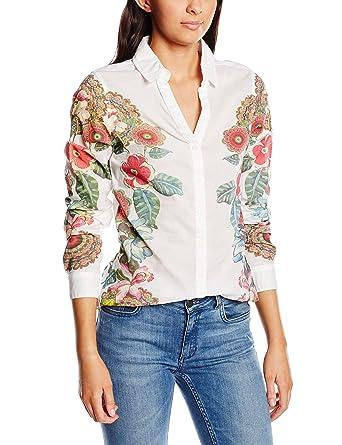 Desigual Cam Lupo - Camisa Mujer, color blanco, talla XXL: Amazon.es: Ropa y accesorios